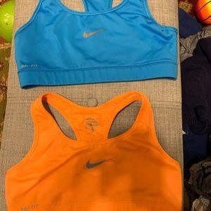 2 Women's Nike Dri Fit Sports Bras - Size Medium